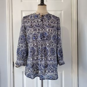 Tory Burch Blue and White Popover Shirt